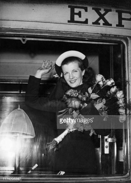 Picture taken on March 12 1947 at Paris showing French actress Corinne Calvet leaving to Hollywood