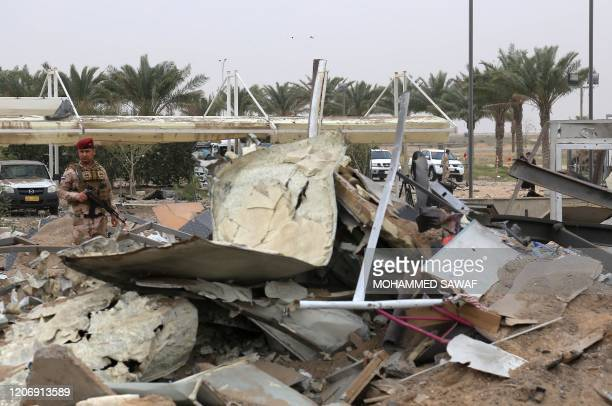 Picture taken on March 13, 2020 shows destruction at Karbala airport in the Iraqi shrine city, one of the areas targeted by US military air strikes...