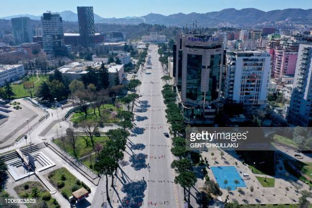 Picture taken on March 13 shows an aerial view of empty Tirana's outer ring. - Albania has stepped up measures to contain the spread of COVID 19...