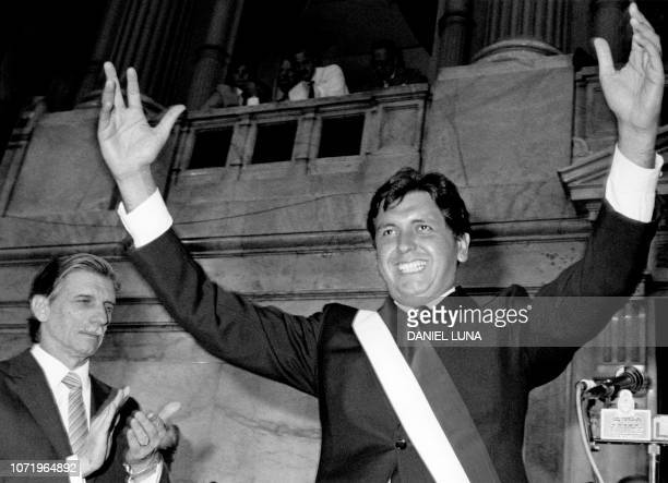 Picture taken on March 14 1986 at Buenos Aires showing Peruvian President Alan Garcia in the Argentinian parliament
