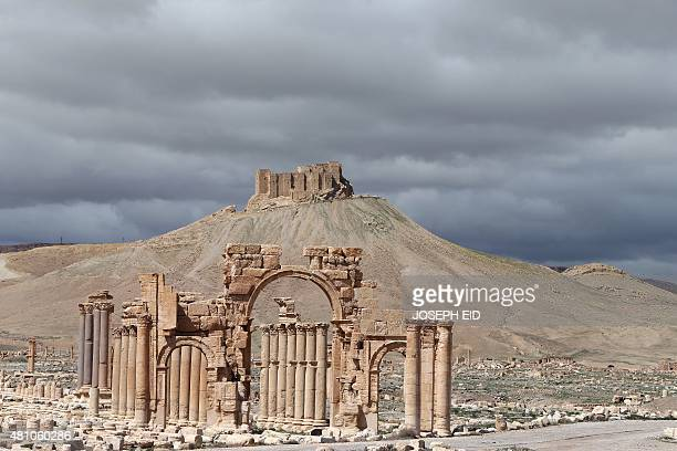 A picture taken on March 14 2014 shows a partial view of the ancient oasis city of Palmyra 215 kilometres northeast of Damascus From the 1st to the...