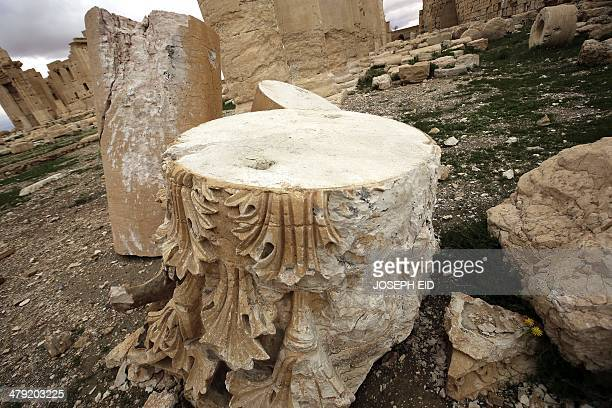A picture taken on March 14 2014 shows columns in the courtyard of the temple of Baal at the ancient city of Palmyra on March 14 damaged by artillary...