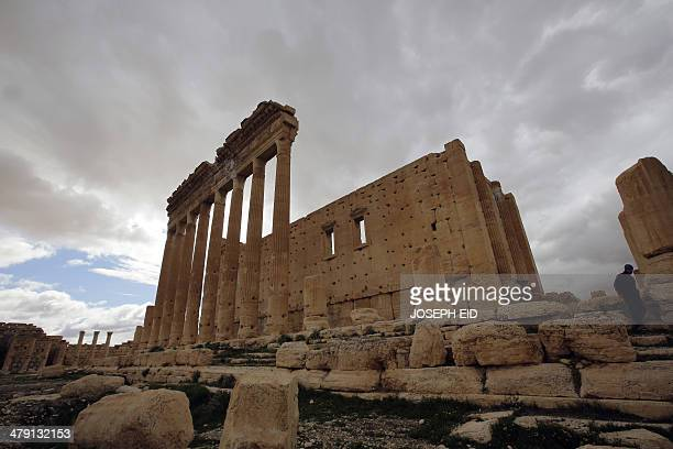 Picture taken on March 14, 2014 shows the external courtyard of the sanctuary of Baal in the ancient oasis city of Palmyra, 215 kilometres northeast...