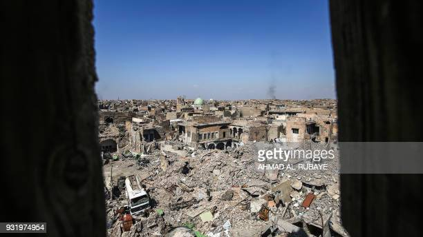 A picture taken on March 14 2018 shows a view of destruction in the former residential area around the Nuri mosque in the old city of Mosul eight...