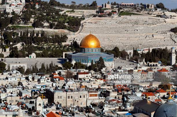A picture taken on March 14 2018 shows the Dome of the Rock which is situated in the AlAqsa mosque compound with part of Jerusalem's Old City and the...