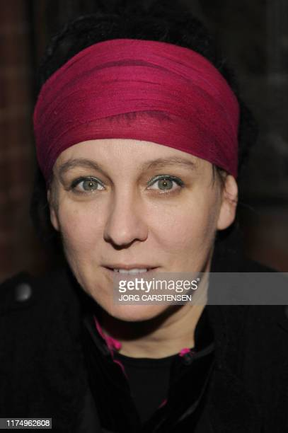 Picture taken on March 15 2009 shows Polish author Olga Tokarczuk during a reading at a literature festival in Cologne western Germany Polish writer...