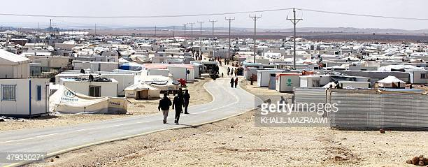 A picture taken on March 15 2014 shows part of the sevensquarekilometre Zaatari refugee camp in northern Jordan near the border with Syria which...
