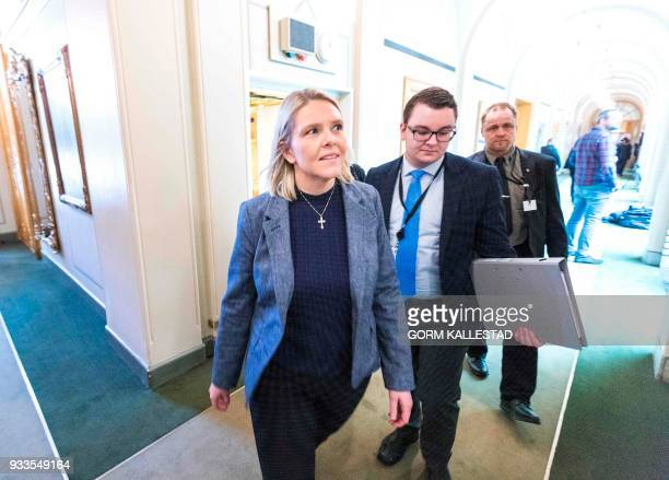 Picture taken on March 15 2018 shows Norwegian Minister of Justice and Public Security Sylvi Listhaug and her Political Adviser Espen Teigen at the...