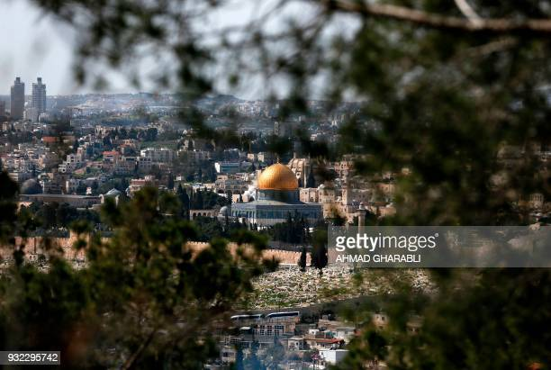 A picture taken on March 15 shows a partial view of Jerusalem's Old City with the Dome of the Rock in the centre / AFP PHOTO / AHMAD GHARABLI