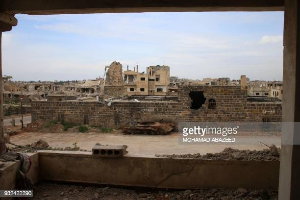 A picture taken on March 15 shows the Omari mosque in the southern Syrian city of Daraa / AFP PHOTO / Mohamad ABAZEED