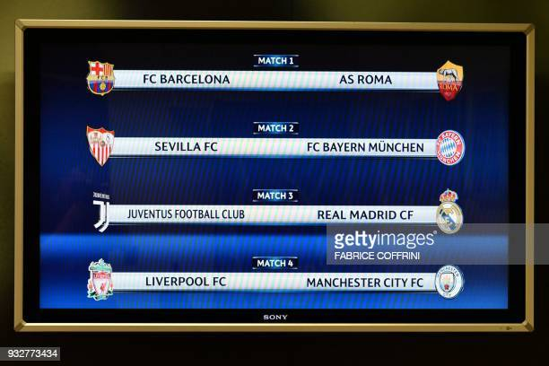 A picture taken on March 16 2018 shows a screen displaying the fixtures after the draw for the quarter finals round of the UEFA Champions League...