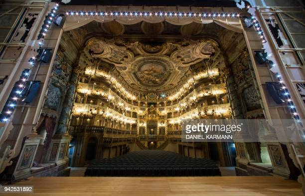 A picture taken on March 16 2018 shows a view of the Margravial Opera House in Bayreuth which is expected to reopen on April 12 2018 after 6 years of...