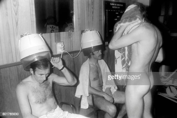 Picture released on March 17 1976 of football players drying hair after the match SaintEtienne / Kiev of the European Cup opposing France and Ukraine...