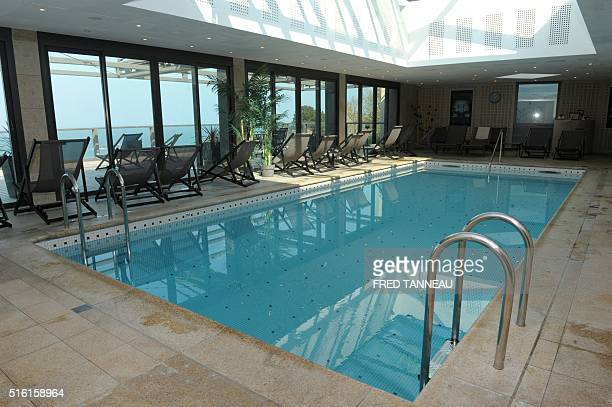 Picture taken on March 17, 2016 in Perros-Guirrec, western France shows the pool of the Hotel L'Agapa. The hotel will host the Albanian team during...