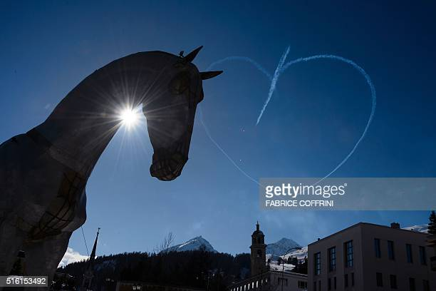 A picture taken on March 17 2016 shows the head of 'The Trojan Horse' sculpture weighing 52 tonnes and measuring 14 metres high by 20 metres long...