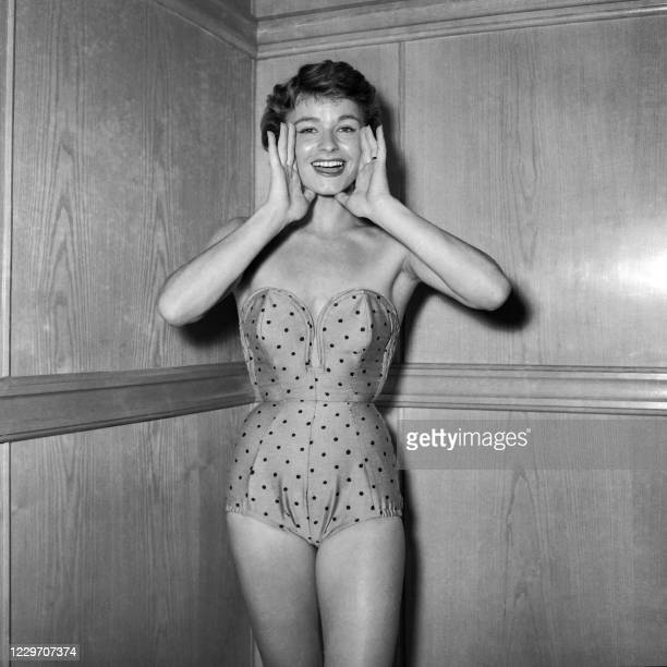 Picture taken on March 18, 1954 at Paris showing a model wearing a nylon swimsuit as part of the summer collection.