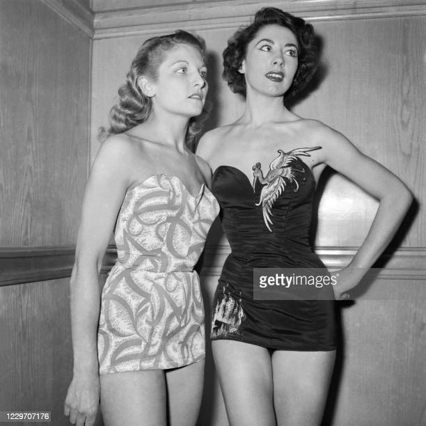 Picture taken on March 18, 1954 at Paris showing French actress Anne-Marie Duverney wearing a nylon swimsuit as part of the summer collection.
