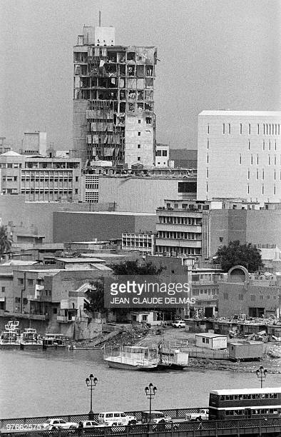 Picture taken on March 18 1985 of Rafidain Bank building destroyed by Iranian missiles in bagdad The IraqIran war began in September 1980 after Iraqi...