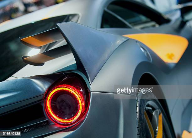 A picture taken on March 18 2016 shows a detail of a car during a threeday auto motor and tuning show at the Hungexpo Budapest Fair Center in...