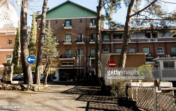 A picture taken on March 18 2020 shows the Forest Park hotel in the Pano Platres village in the Cypriot Troodos mountains one of the hotels left...