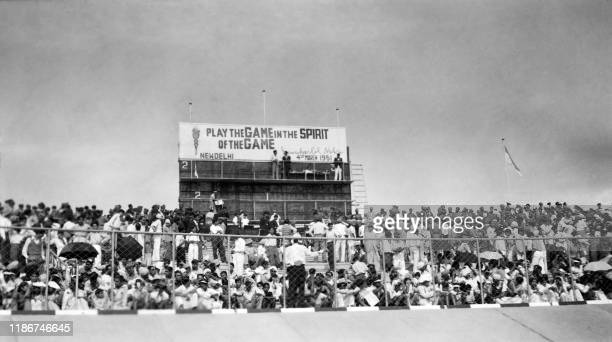 Picture taken on March 19, 1951 at New Delhi showing spectators of the Asian Games with 489 athletes coming from 11 countries .