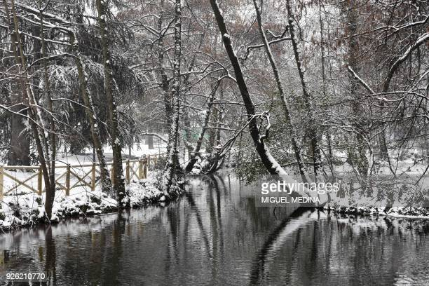 A picture taken on March 2 2018 in Milan shows a view of a lagoon at The Indro Montanelli Garden near Porta Venezia during snowfall Fresh heavy...
