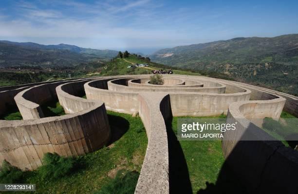 "Picture taken on March 20, 2010 shows the ""Labirinto di Arianna"" , a sculpture made by Italian artist Italo Lanfredini in the Sicilian Fiumara park,..."