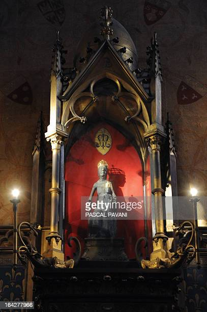 Picture taken on March 21, 2013 shows the Black Madonna in the basilica of Rocamadour, the town which is a Unesco World Heritage site since 1979, in...