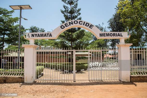 A picture taken on March 21 2019 shows the entrance of the Nyamata Genocide Memorial in Kigali On April 7 Rwanda will commemorate the 25th...