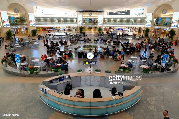 Picture taken on March 22, 2018 shows an overhead view of the departure hall in Ben Gurion International Airport on the outskirts of Tel Aviv. / AFP...