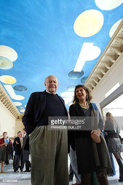 A picture taken on March 23 2010 in Paris shows a painted ceiling an immense work by American painter Cy Twombly at the Salle des Bronzes one of the...