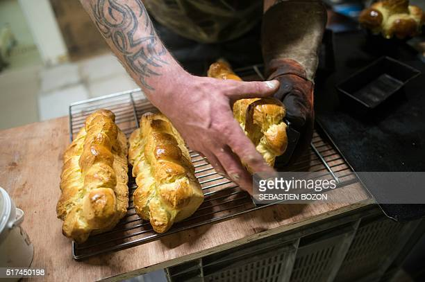 A picture taken on March 23 2016 shows brioches at a bakery in Dole eastern France BOZON
