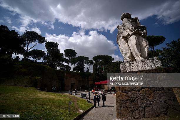 A picture taken on March 24 2015 in Rome shows the Ardeatine caves site and memorial cemetrey on the 71st anniversary of the slaughter that took...