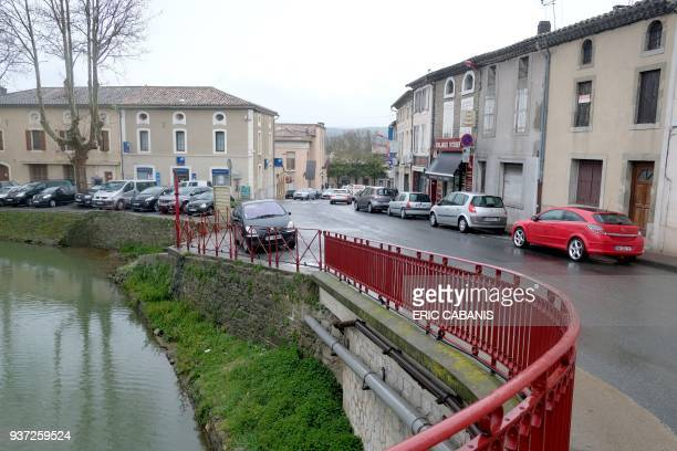 A picture taken on March 24 2018 shows a view of the center of Trebes near Carcassonne southwestern France after a string of attacks by a gunman who...