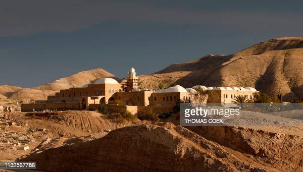 A picture taken on March 24 shows the holy mosque of Nabi Musa where the tomb of Prophet Moses is believed to be located in the Judean Desert near...