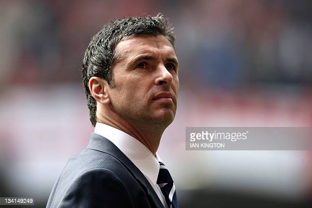 A picture taken on March 26 2011 shows manager of Wales Gary Speed awaiting kick off against England during a Euro 2012 Group G qualifying football...