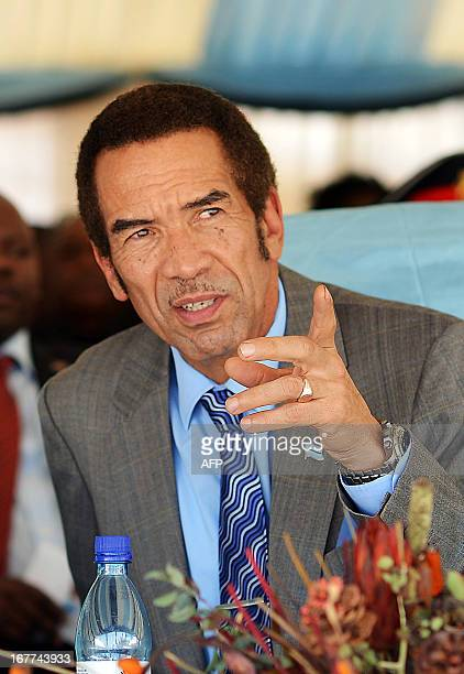 A picture taken on March 26 2013 shows Botswana president Ian Khama during the official opening of a Poverty Eradication workshop in Maun...
