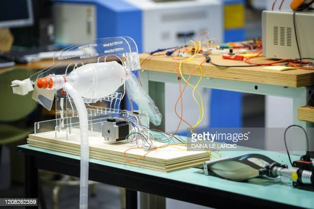 A picture taken on March 26 2020 shows a ventilator during the presentation of the Breath4life a new type of ventilator developed by the UCLouvain...