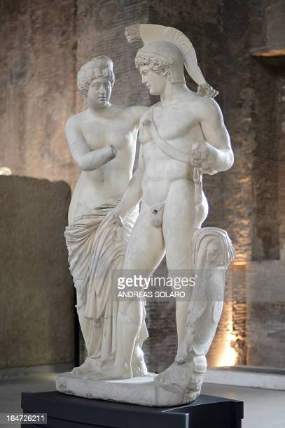 A picture taken on March 27 2013 at the Museo nazionale delle Terme shows Roman statues of Mars and Venus The controversial prostheses of the two...