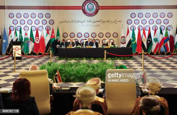 A picture taken on March 27 2017 shows a general view of the preparatory meeting of Arab Foreign Ministers during the 28th Summit of the Arab League...