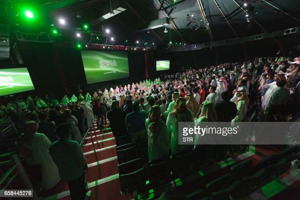 Picture taken on March 27, 2017 shows a general view of the opening ceremony of the fourth Saudi Film Festival held in Dammam City, 400 kilometers...