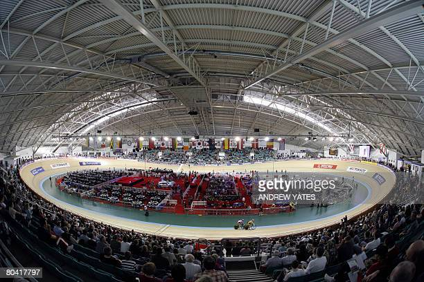 Picture taken on March 28, 2008 shows a general view of the Manchester velodrome during the women's sprint 1/8 finals in the UCI Track Cycling World...
