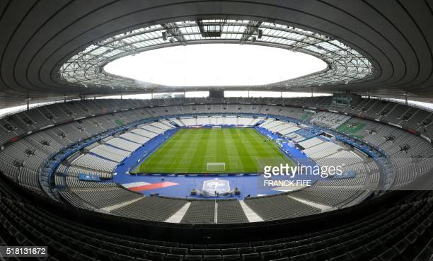 A picture taken on March 28 2016 shows a general view of the Stade de France in SaintDenis north of Paris uilt for the World Cup 1998 Stade de France...