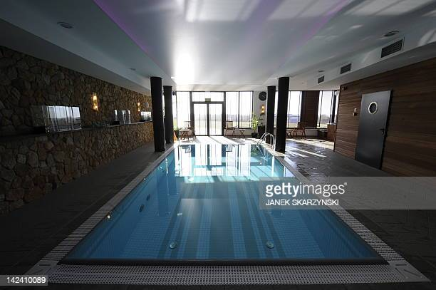 A picture taken on March 29 2012 shows a swimming pool in the Mistral Sport hotel in Gniewino some 50 km from Gdansk where the Spanish national...