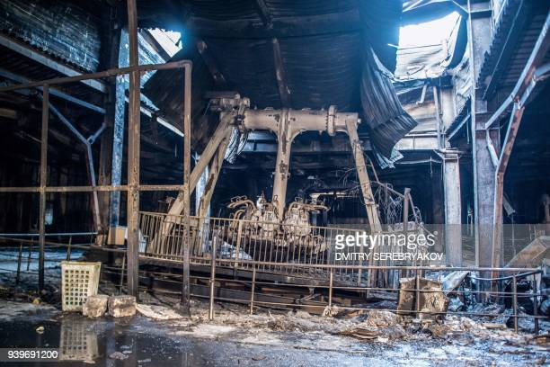 A picture taken on March 29 2018 shows an amusement area in the firegutted shopping mall in the industrial city of Kemerovo in western Siberia / AFP...