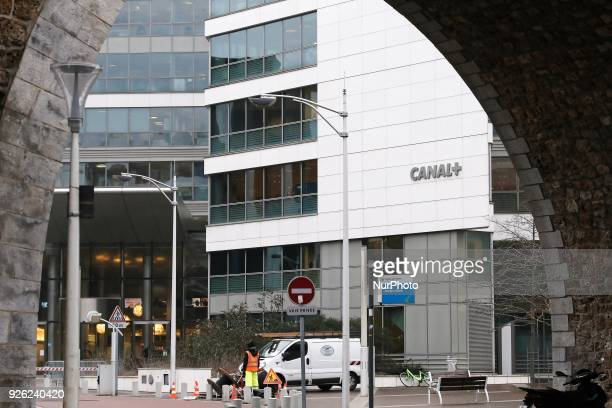 A picture taken on March 2nd 2018 in IssylesMoulineaux a neighbouring suburb of Paris shows a view of French television Group Canal Plus TF1 also...