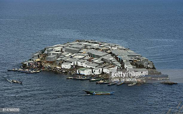 A picture taken on March 3 2016 shows Migingo Island on Lake Victoria Ownership of the island is subject to a dispute between Kenya and Uganda Since...