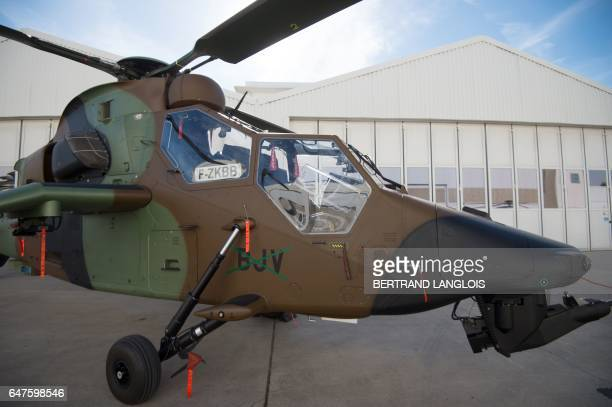 Picture taken on March 3, 2017 at the Airbus Helicopters factory in Marignane, southern France, shows a Tigre helicopter. / AFP PHOTO / BERTRAND...