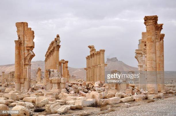 Picture taken on March 3, 2017 shows the ancient city of Plamyra in central Syria. Syrian troops backed by Russian jets completed the recapture of...