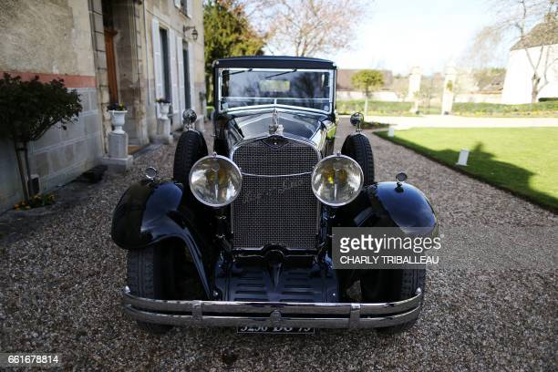 A picture taken on March 30 2017 shows the Spanish painter Pablo Picasso's Hispano Suiza car parked outside the castle of Boisgleoup the Picasso...